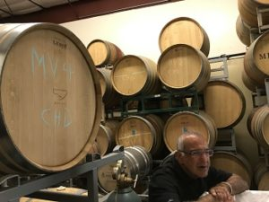 Ash Mehta, surrounded by barrels at Cotiere Wine, partnered with Bradley to create the ila wines.
