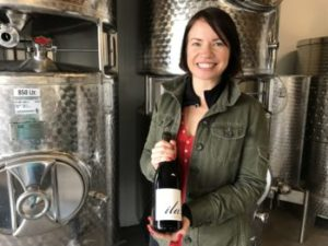 Winemaker Mary Bradley with her wine Ila.