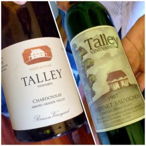 Comparing the old and the new for wine labels from Talley's vintage library.