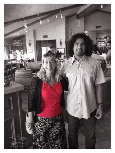 Talley tasting room host Temo with Kara