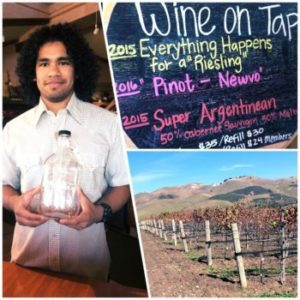 Temo showing off the wine on tap feature at Talley Vineyards