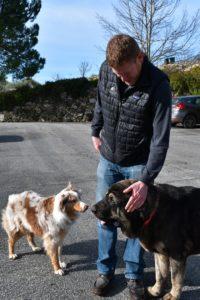 Jason Haas with two Tablas Creek winery dogs