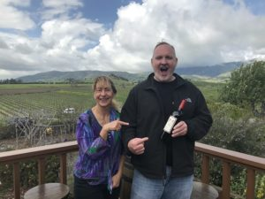 Kara and Andrew from 805 Wine Country getting a bottle of Wolff Wine